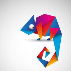 Fototapeta kolorowy kameleon origami wektor