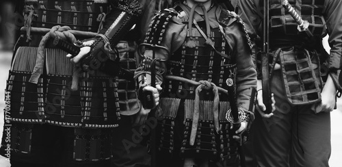 Photo  Samurai armour and helmet. Carnival costumes. Soldiers on outside