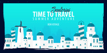 Greece Banner. Time To Travel. Journey, Trip And Vacation. Vector Flat Illustration.