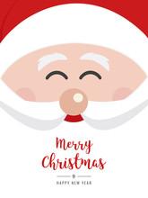 Santa Claus Face Smile Christmas Gretting Text Card