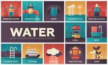 Water Concept - Set Of Flat De...