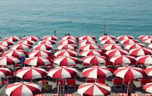 Sun Umbrellas In Amalfi, Southern Italy