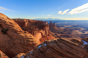 The late afternoon sun beats down on the red landscape of Canyonlands National Park, Utah