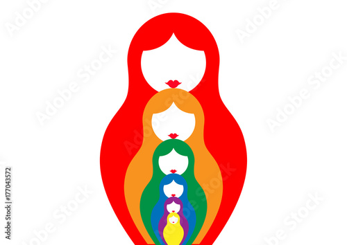 Russian nesting dolls matrioshka, set icon colorful symbol of Russia, vector iso Canvas Print