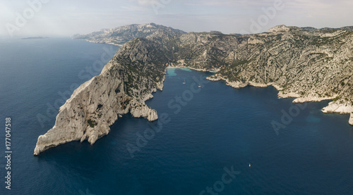Fotografia  Aerial view of Calanques National Park on the southern coast of France