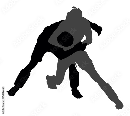 Fotografia  Two mma fighters vector silhouette illustration isolated on white background