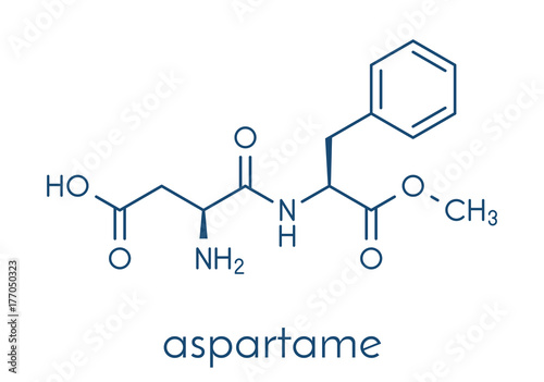 Photo Aspartame artificial sweetener molecule (sugar substitute)