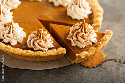 Fototapeta Pumpkin pie with whipped cream