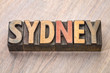 Sydney word abstract in wood type