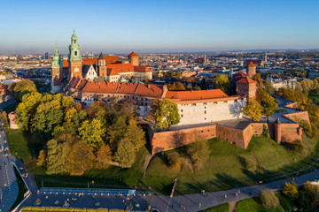 FototapetaCracow Skyline with Wawel Castle and Cathedral in Fall