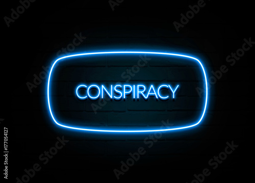 Fotografie, Obraz  Conspiracy  - colorful Neon Sign on brickwall