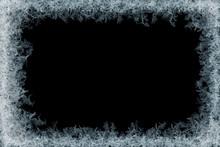 Frostwork. Decorative Ice Crystals Frame On Black Matte Background.