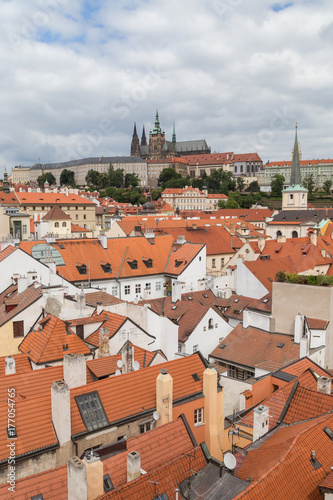 Staande foto Praag View of old buildings from above and Prague (Hradcany) Castle at the Mala Strana District (Lesser Town) in Prague, Czech Republic.