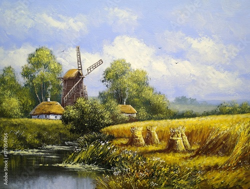 wiatrak-krajobraz-wsi-poznym-latem