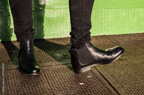 Black trousers and ladies vintage boots Canvas Print