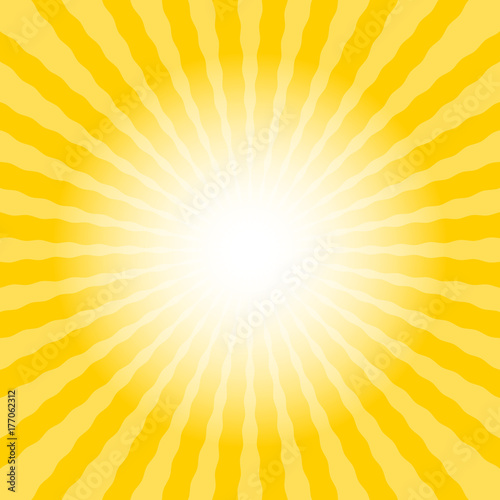 Abstract sun rays wavy yellow and white background template text ...