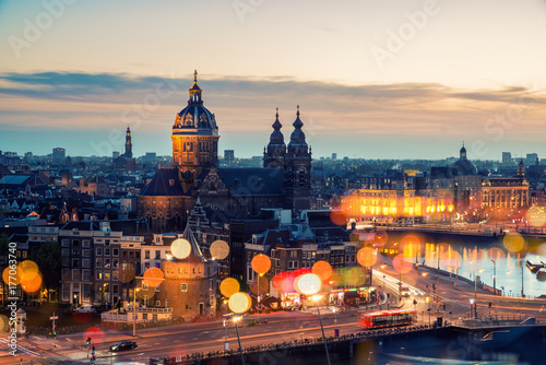 Canvas Prints Amsterdam Amsterdam skyline in historical area at night, Netherlands. Ariel view of Amsterdam, Netherlands.