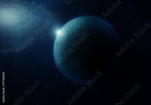 Plakat 3d rendering: Obca planeta i gwiazdy od przestrzeni