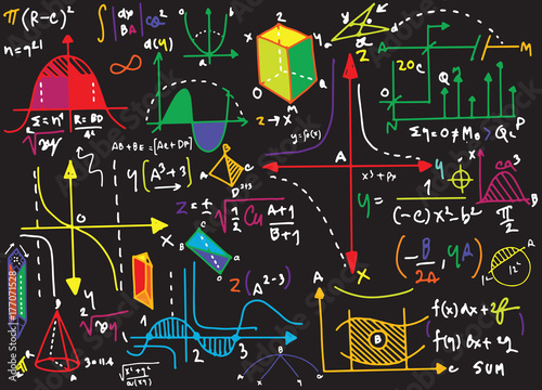 Physical formulas and phenomenon. hand-drawn illustration. scien Canvas Print