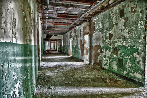 Fotografering  Hallway in Abandoned Lunatic Asylum, Weston, West Virginia
