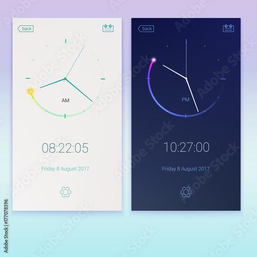 Fototapeta Clock application, concept of contrast UI design, day and night variants. Digital countdown app, user interface kit, mobile clock interface. UI elements, 3D illustration obraz na płótnie