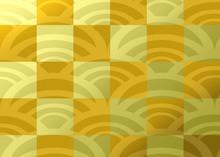 金色の市松模様と青海波の背景