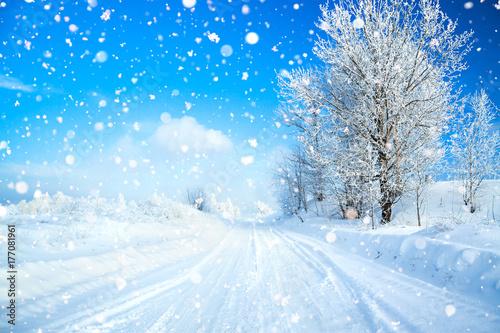Fotografía  winter landscape with road