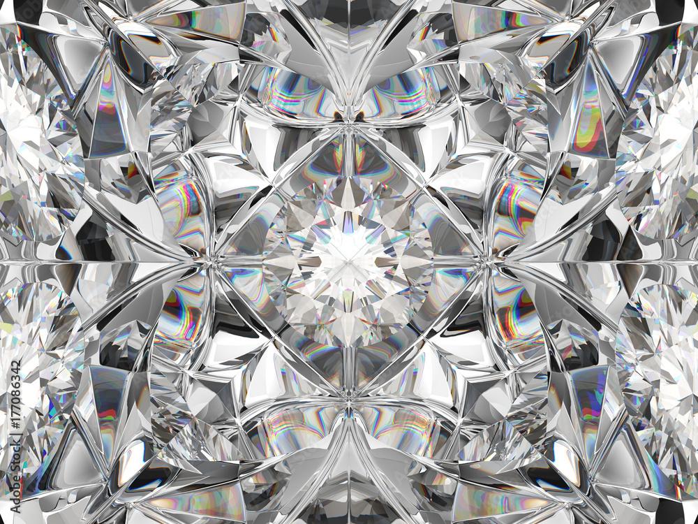 Fototapeta Diamond closeup and kaleidoscope pattern