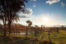 Evening Sun Over The Stables Near Lake Maroon, Scenic Rim, Queensland, Australia
