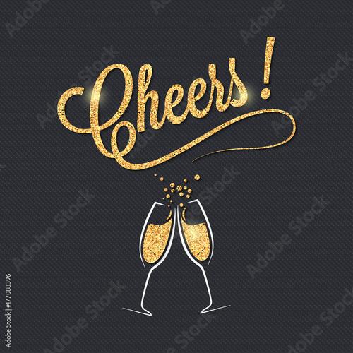 Canvas Print Champagne glass banner
