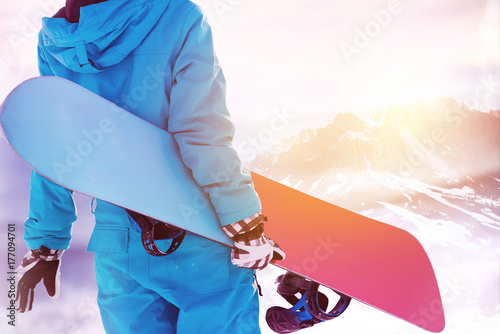 Snowboarder big mountains area ski resort