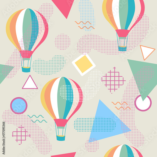 Pinturas sobre lienzo  Memphis style seamless pattern with hot air balloon