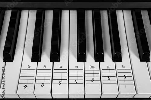 Plakat Instrument muzyczny fortepianu i klawiszy z nutami na muzycznej obsadzie, koncepcja edukacji i nauki o muzyce
