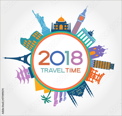 travel and tourism background creative happy new year 2018 design new year background