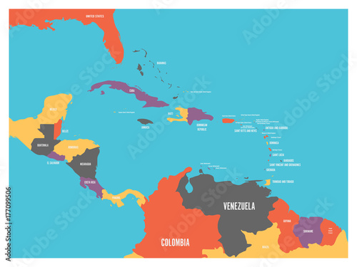 Central America and Carribean states political map with country names labels Canvas Print