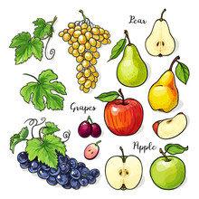 Apple, Pear, Grapes Whole And ...