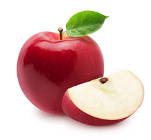 Isolated Apples. Whole Red, Pink Apple Fruit With Slice Isolated On White With Clipping Path