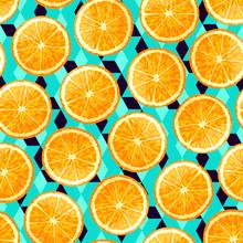 Sliced Orange Seamless Pattern.