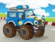 cartoon scene with happy smiling monster truck on the race truck illustration for children