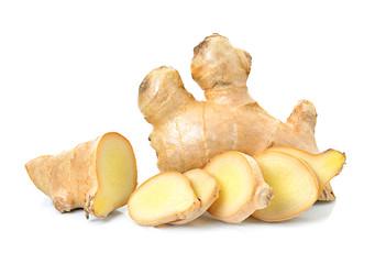 Fototapeta ginger herb on white background