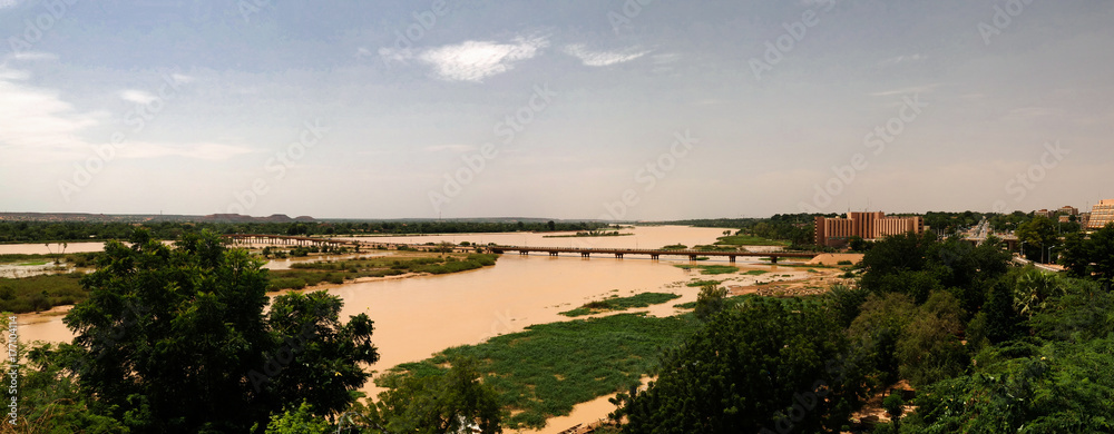 Aerial view to Niger river and Niamey city , Niger