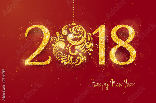 2018 happy new year background with golden glitter numbers on red background vector holiday design