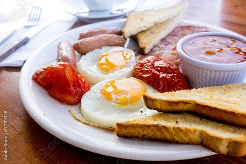 Plakat Śniadanie z kawą i na stole