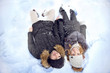 Portrait of smiling men and women in the snow top view upside down