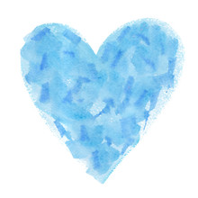Big Abstract Pale Blue Heart Backdrop Painted In Watercolor On Clean White Background