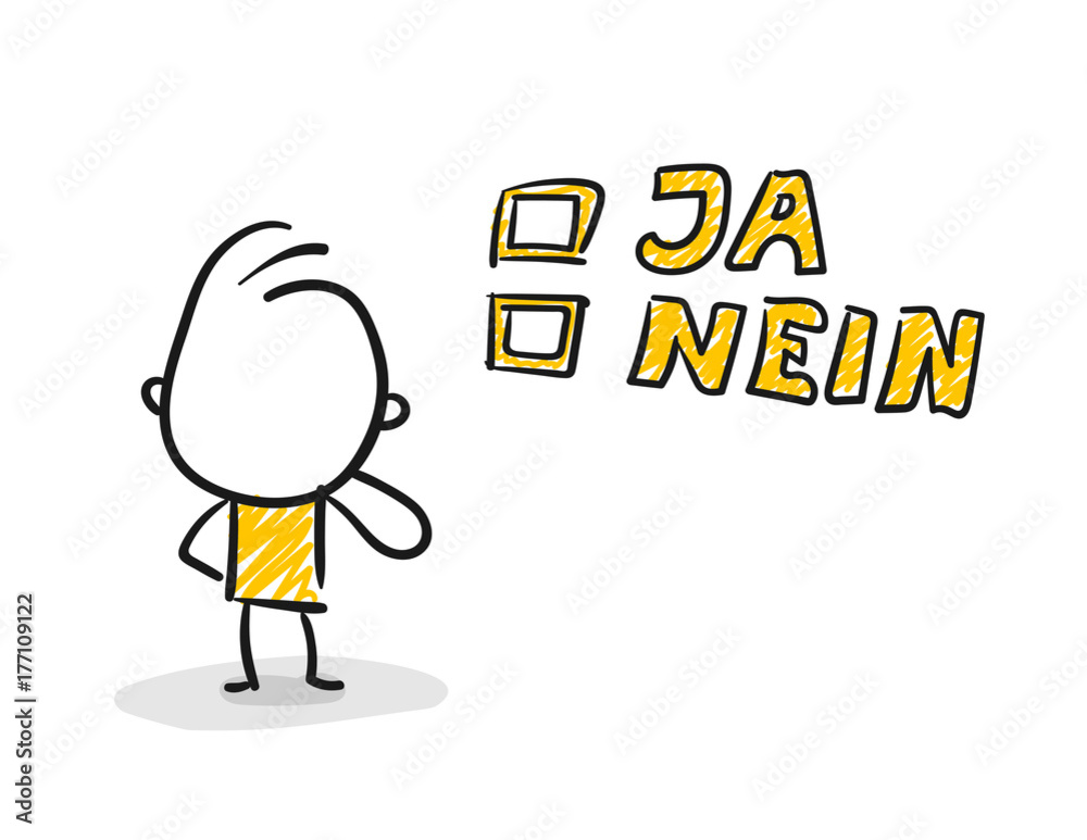 Strichfiguren Strichmannchen Wahl Ja Nein Nr 139 Poster