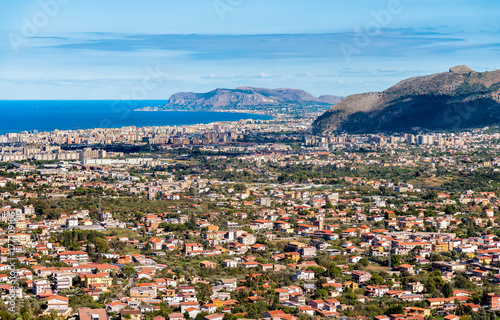 Fotobehang Palermo Panoramic view of Palermo city and mediterranean sea coast around, Italy