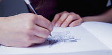 Female Artist Designer Draws A Pencil Sketch Of Flowers. Close Up. (creativity, Art, Training Concept)