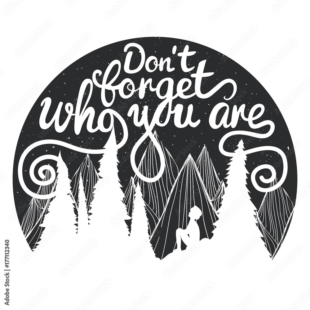 Photo  Vector illustration with mountains, sitting boy looking at the sky, pine trees and inspirational text - Don't forget who you are