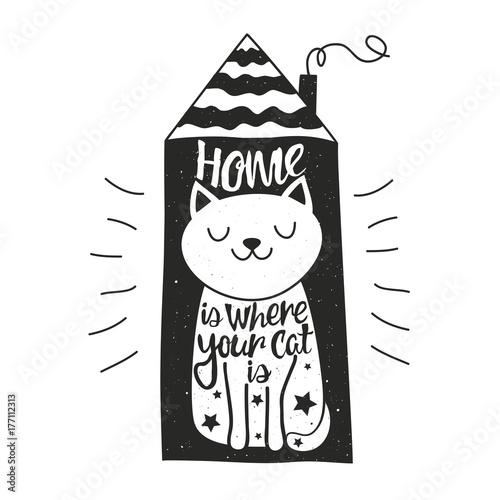 Ilustracja wektorowa z happy kot, dom i napis cytat - dom jest, gdzie jest twój kot.